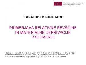 Nada Stropnik in Nataa Kump PRIMERJAVA RELATIVNE REVINE