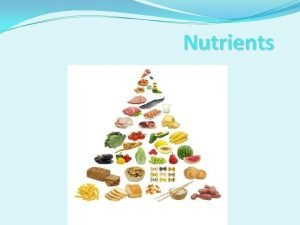 Nutrients LESSON 1 Nutrients Your Body Needs BIG