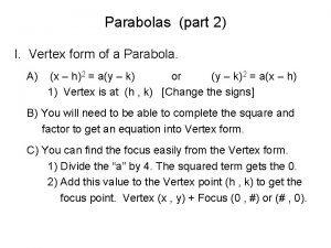 Parabolas part 2 I Vertex form of a