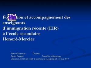 Formation et accompagnement des enseignants dimmigration rcente EIR