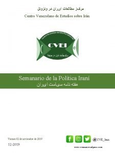 Centro Venezolano de Estudios sobre Irn Semanario de