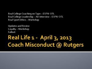 Real College Coaching on Tape ESPN OTL Real