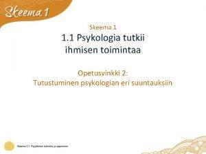 Skeema 1 1 1 Psykologia tutkii ihmisen toimintaa
