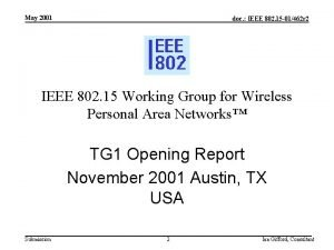 May 2001 doc IEEE 802 15 01462 r