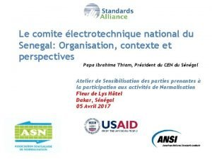 Le comite lectrotechnique national du Senegal Organisation contexte