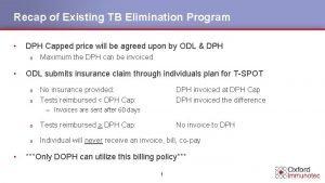 Recap of Existing TB Elimination Program DPH Capped