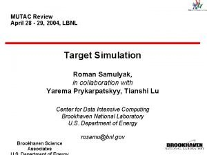 MUTAC Review April 28 29 2004 LBNL Target