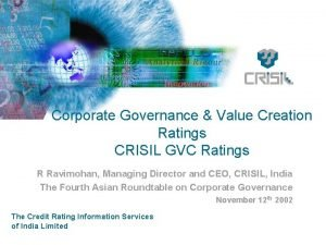 Corporate Governance Value Creation Ratings CRISIL GVC Ratings