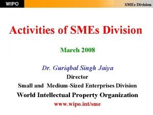SMEs Division Activities of SMEs Division March 2008