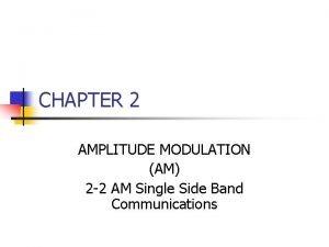 CHAPTER 2 AMPLITUDE MODULATION AM 2 2 AM