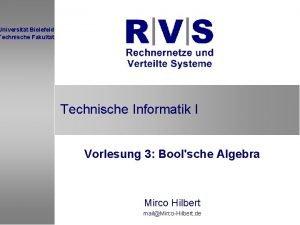 Universitt Bielefeld Technische Fakultt Technische Informatik I Vorlesung