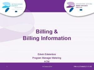 Billing Billing Information Edwin Edelenbos Program Manager Metering