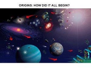 ORIGINS HOW DID IT ALL BEGIN ORIGINS HOW