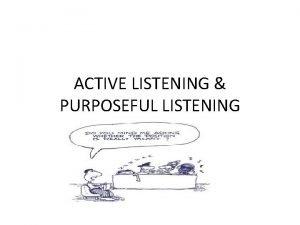 ACTIVE LISTENING PURPOSEFUL LISTENING EFFECTIVE LISTENING KEEP QUITE