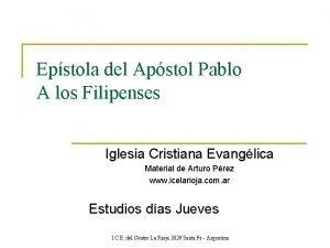 Epstola del Apstol Pablo A los Filipenses Iglesia