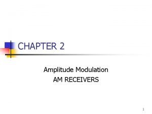 CHAPTER 2 Amplitude Modulation AM RECEIVERS 1 Introduction