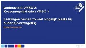 Ouderavond VMBO 2 Keuzemogelijkheden VMBO 3 Leerlingen nemen