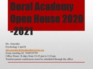 Doral Academy Open House 2020 2021 Ms Gonzalez