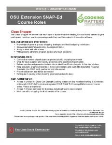 OHIO STATE UNIVERSITY EXTENSION Extension SNAPEd Title Course