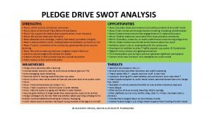 PLEDGE DRIVE SWOT ANALYSIS STRENGTHS OPPORTUNITIES WEAKNESSES THREATS