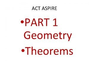 ACT ASPIRE PART 1 Geometry Theorems ACT ASPIRE