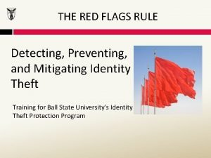 THE RED FLAGS RULE Detecting Preventing and Mitigating