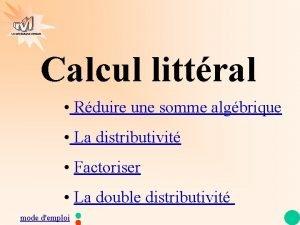 Les mathmatiques autrement Calcul littral Rduire une somme