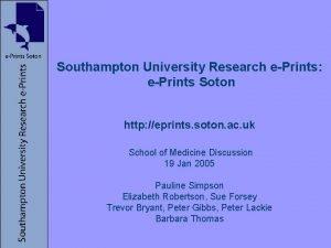 Southampton University Research ePrints ePrints Soton http eprints