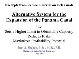 Excerpts from lecture material on lock canals Alternative