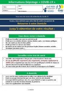 Informations Dpistage COVID19 Dates Nom Prnom Mdecin Date