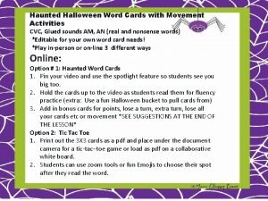 Haunted Halloween Word Cards with Movement Activities CVC