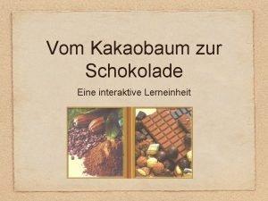 Vom Kakaobaum zur Schokolade Eine interaktive Lerneinheit Inhaltsverzeichnis