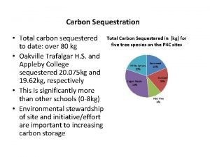 Carbon Sequestration Total carbon sequestered Total Carbon Sequestered