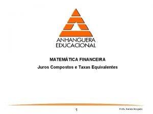 MATEMTICA FINANCEIRA Juros Compostos e Taxas Equivalentes 1
