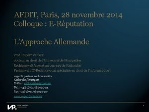 AFDIT Paris 28 novembre 2014 Colloque ERputation LApproche