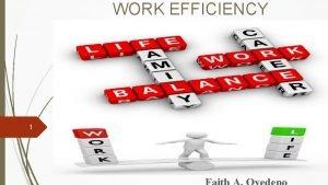 WORK EFFICIENCY 1 2 Prepare thy work without