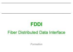 FDDI Fiber Distributed Data Interface Formation FDDI Rseaux