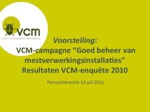 Voorstelling VCMcampagne Goed beheer van mestverwerkingsinstallaties Resultaten VCMenqute