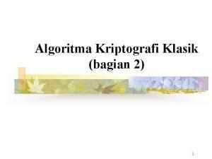 Algoritma Kriptografi Klasik bagian 2 1 Jenisjenis Cipher