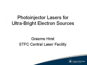 Photoinjector Lasers for UltraBright Electron Sources Graeme Hirst