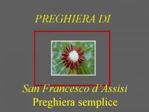 PREGHIERA DI San Francesco dAssisi Preghiera semplice Signore