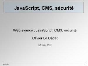 Java Script CMS scurit Web avanc Java Script