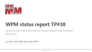 WPM status report TP38 WPM convenor Roland Hechwartner