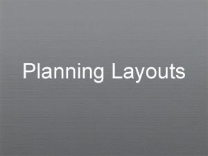 Planning Layouts Layouts Arrange page items into a