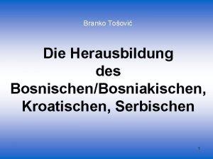 Branko Toovi Die Herausbildung des BosnischenBosniakischen Kroatischen Serbischen