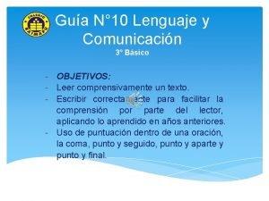 Gua N 10 Lenguaje y Comunicacin 3 Bsico