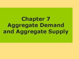 Chapter 7 Aggregate Demand Aggregate Supply Aggregate Demand