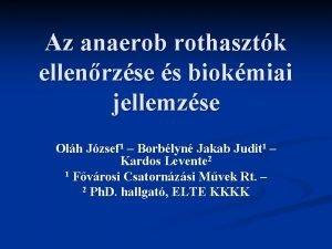 Az anaerob rothasztk ellenrzse s biokmiai jellemzse Olh