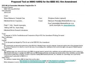 Proposed Text on MIMO HARQ for the IEEE