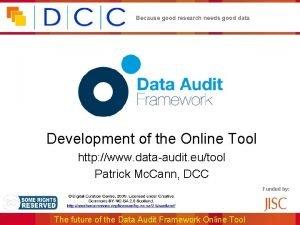 Because good research needs good data Development of